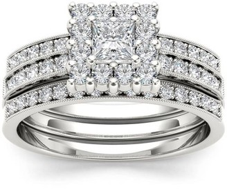 Imperial Diamond Imperial 7/8 Carat T.W. Diamond Single Halo Two-Band 14kt White Gold Engagement Ring Set