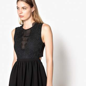 Suncoo Lace Skater Dress with Open Back