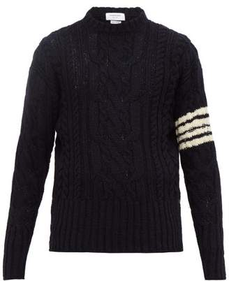 Thom Browne Cable Knit Wool Blend Sweater - Mens - Navy
