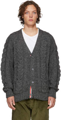 Thom Browne Grey Aran Cable Raglan Sleeve V-Neck Cardigan