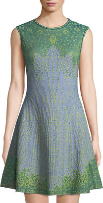 M Missoni Sleeveless Jacquard Fit-and-Flare Dress, Blue Green