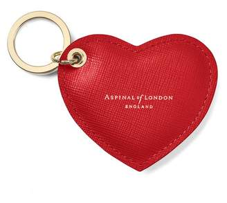 Aspinal of London Heart Key Ring In Scarlet Saffiano