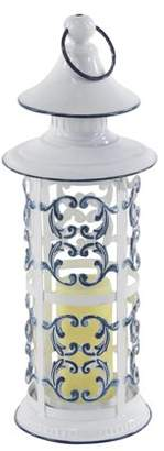 DecMode Decmode Rustic 20 X 7 Inch White Iron And Glass Ornate Candle Lantern
