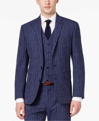 Ryan Seacrest DistinctionTM Men's Slim-Fit Blue Chalk Stripe Suit Jacket, Only at Macy's $425 thestylecure.com