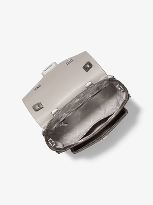 b3c42aff4dc6 MICHAEL Michael Kors Manhattan Medium Crackled Metallic Leather Satchel