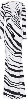 Roberto Cavalli Zebra-printed stretch jersey gown
