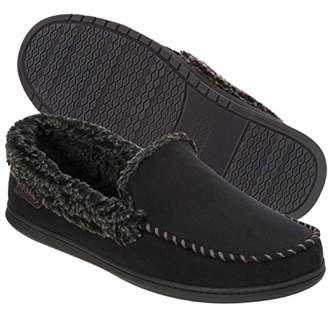 Dearfoams Men's Wide Width Suede Moccasin with Whipstitch Detail