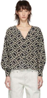 Isabel Marant Black and Off-White Andora Blouse
