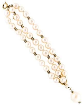 Chanel Faux Pearl & Crystal Bead Bracelet