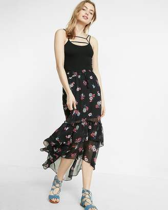 Express High Waisted Floral Print Tiered Hi-Lo Maxi Skirt