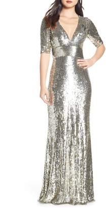Mac Duggal Sequin Stripe Evening Dress