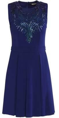 Roberto Cavalli Embellished Stretch-Cady Mini Dress