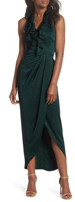 Shona Joy Luxe Plunging Frill Maxi Dress