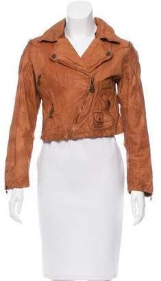 Doma Cropped Leather Moto Jacket
