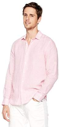 Isle Bay Linens Men's Slim-Fit 100% Linen Long-Sleeve Check Woven Shirt Pink