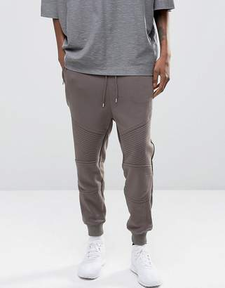 Asos Design Tapered Biker Joggers With Zip Pockets In Grey