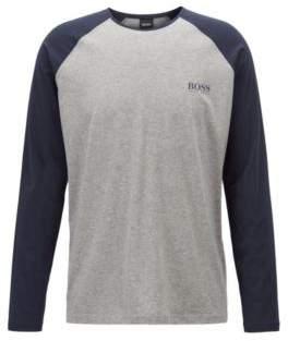 BOSS Hugo Crew-neck pajama top contrast raglan sleeves M Grey