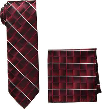 Pierre Cardin Men's Shaded Grid Tie and Pocket Square