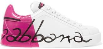 Dolce & Gabbana Logo-painted Leather Sneakers - Bright pink