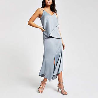 River Island Blue satin asymmetric midi skirt