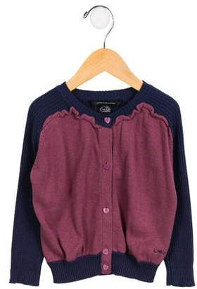 Little Marc Jacobs Girls' Two-Tone Button-Up Cardigan