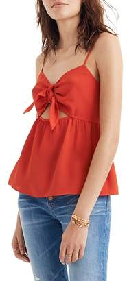 Madewell Tie Front Keyhole Silk Camisole