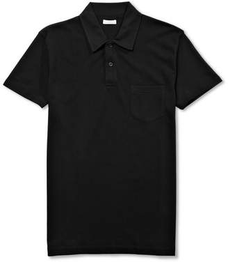 Sunspel Riviera Slim-Fit Cotton-Mesh Polo Shirt - Black
