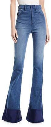 Brandon Maxwell High-Waist Bell-Bottom Jeans with Satin Cuff
