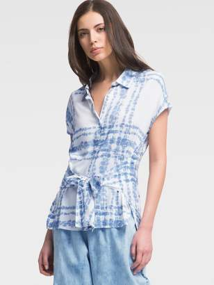 DKNY Short-Sleeve Plaid Button-Up With Waist Tie