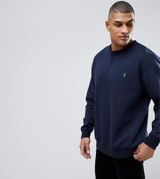 Polo Ralph Lauren Big & Tall Crew Neck Sweatshirt Polo Player Logo In Navy