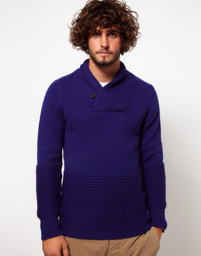G Star Sweater With Shawl Collar