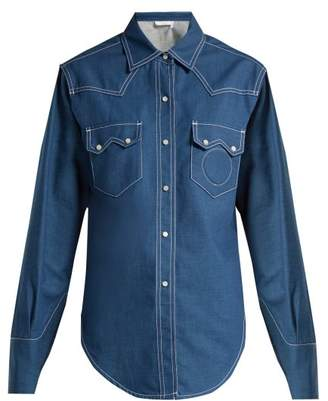 Chloé Contrast Topstitching Denim Shirt - Womens - Dark Blue