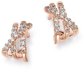 Bloomingdale's Diamond Crisscrossed Huggie Earrings in 14K Rose Gold, 0.25 ct. t.w. - 100% Exclusive