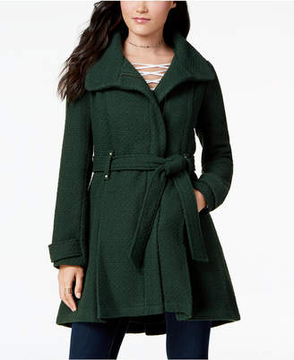 Madden-Girl Juniors' Textured Belted Wrap Coat