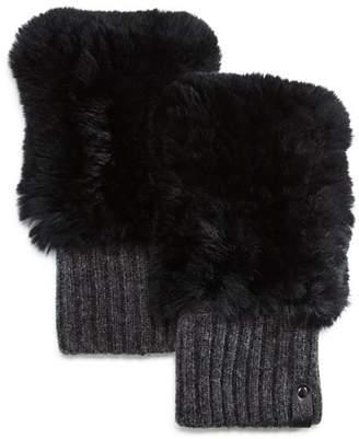 Mackage Racer Knit Rex Rabbit Fur & Cashmere Fingerless Gloves