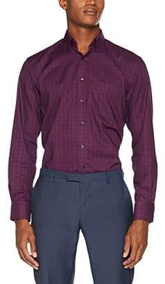 Eterna Men's Fit Langarm Rot Kariert mit Modern Button-Down-Kragen Formal Shirt, 57