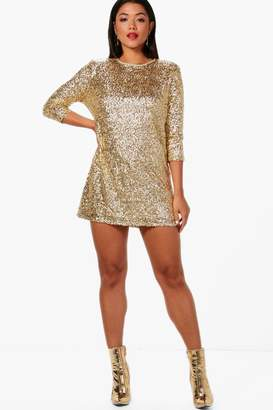 boohoo Boutique Sequin Long Sleeve Shift Dress