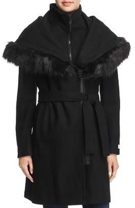 Calvin Klein Shawl Collar Faux Fur Trim Coat
