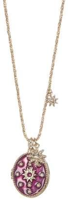 Marchesa Crystal Violet Starburst Locket Pendant Necklace