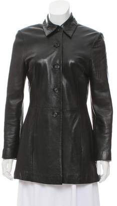 Bergdorf Goodman Leather Button-Up Jacket