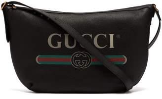 Gucci Logo Print Leather Messenger Bag - Mens - Black