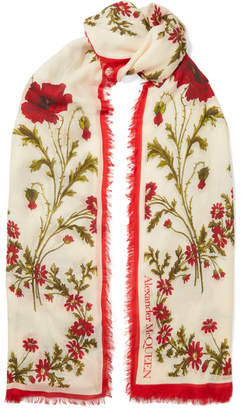 Alexander McQueen Floral-print Modal And Wool-blend Scarf - Ivory