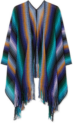 Missoni Fringed Crocheted Wool Wrap - Blue