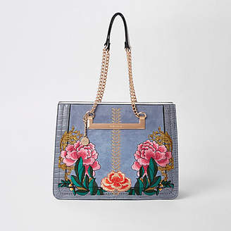 River Island Grey floral embroidered tote bag