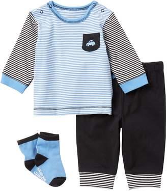 Little Me Car Icon Jogger & Socks 3-Piece Set (Baby Boys)