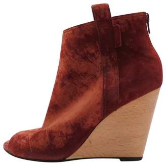 Chanel Burgundy Velvet Ankle boots
