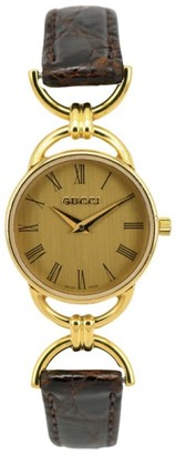 6000.2.L Gold Plated / Leather with Black Dial 23mm Womens Watch