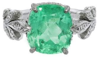 Cathy Waterman Emerald Leafside Ring - Platinum
