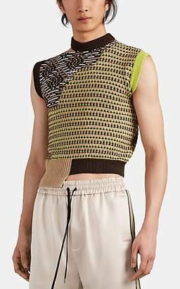 Cmmn Swdn Men's Intarsia-Knit Wool Asymmetric Sweater Vest - Brown