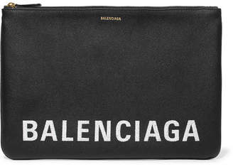 Balenciaga Ville Printed Textured-leather Pouch - Black